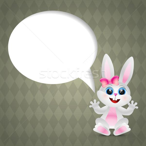 Divertente coniglio vettore Pasqua coniglio chattare bolla Foto d'archivio © Pinnacleanimates