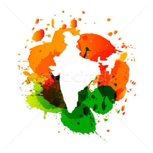 vector map of india with colorful ink splashes Stock photo © Pinnacleanimates