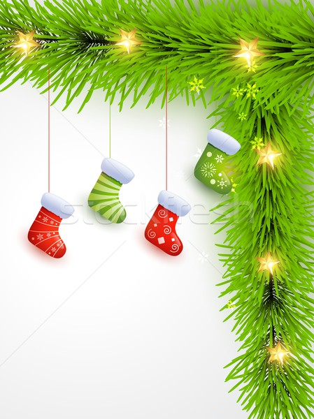 Noël chaussettes suspendu belle arbre vecteur Photo stock © Pinnacleanimates