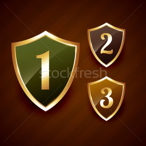 golden ranking label badge vector design Stock photo © Pinnacleanimates