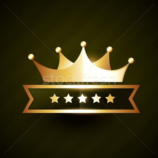 vector golden crown badge design with stars Stock photo © Pinnacleanimates