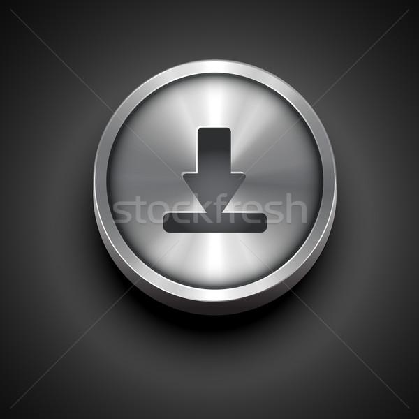 Métallique icône de téléchargement vecteur design affaires noir Photo stock © Pinnacleanimates