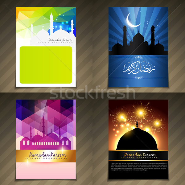 vector set of attractive brochure of ramadan kareem festival Stock photo © Pinnacleanimates