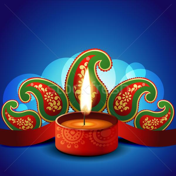 Stock photo: stylish vector diwali diya