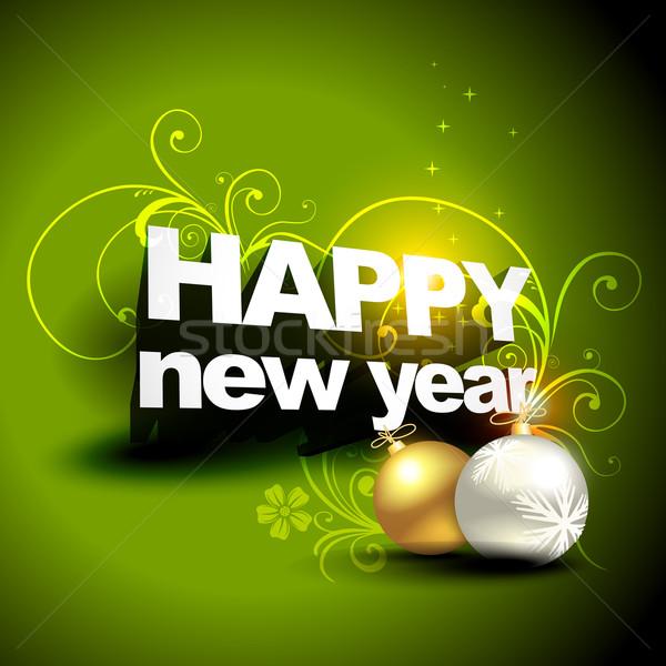 új év karácsony terv vektor művészet labda Stock fotó © Pinnacleanimates