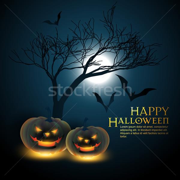Хэллоуин вектора ночь дерево аннотация дизайна Сток-фото © Pinnacleanimates