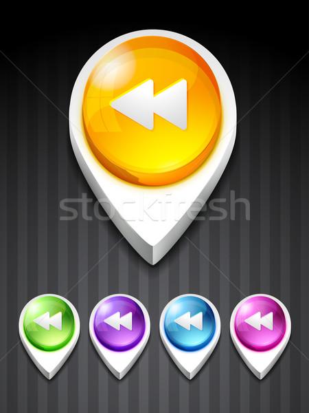 Geri ikon vektör düğme 3D stil Stok fotoğraf © Pinnacleanimates