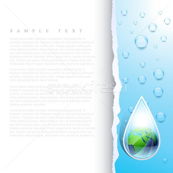 Foto stock: Vetor · terra · gota · de · água · mapa · abstrato · arte
