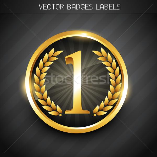 Nyertes címke terv embléma arany nem Stock fotó © Pinnacleanimates