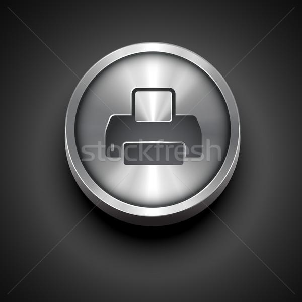 Impressora metálico ícone vetor projeto imprimir Foto stock © Pinnacleanimates