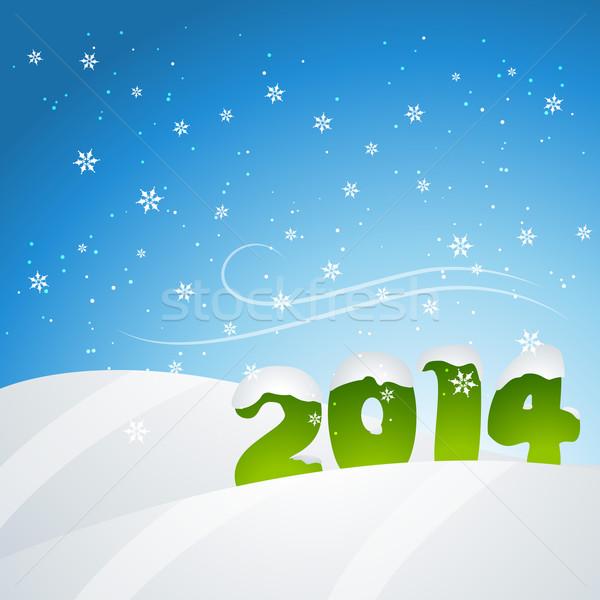 Nieuwjaar sneeuwval vector 2014 ontwerp illustratie Stockfoto © Pinnacleanimates