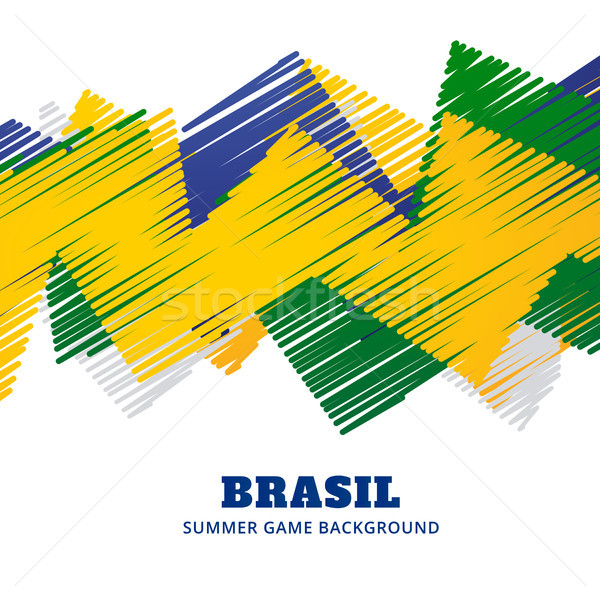 Brazilië voetbal spel vector ontwerp Stockfoto © Pinnacleanimates