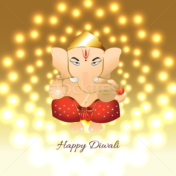 Stock photo: diwali ganesh illustration