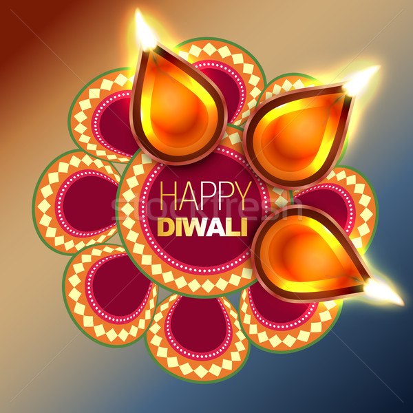 Stock photo: beautiful happy diwali background