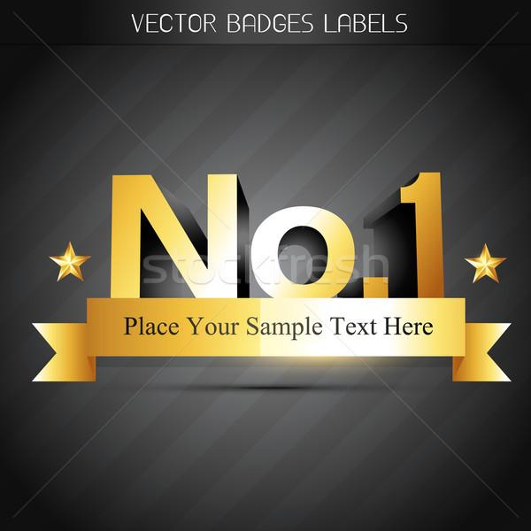 Legelső arany címke terv felirat háló Stock fotó © Pinnacleanimates
