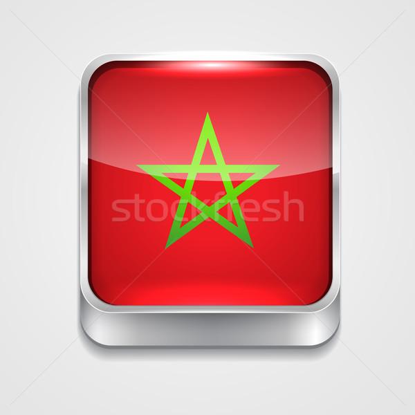 Bandera Marruecos vector 3D estilo icono Foto stock © Pinnacleanimates
