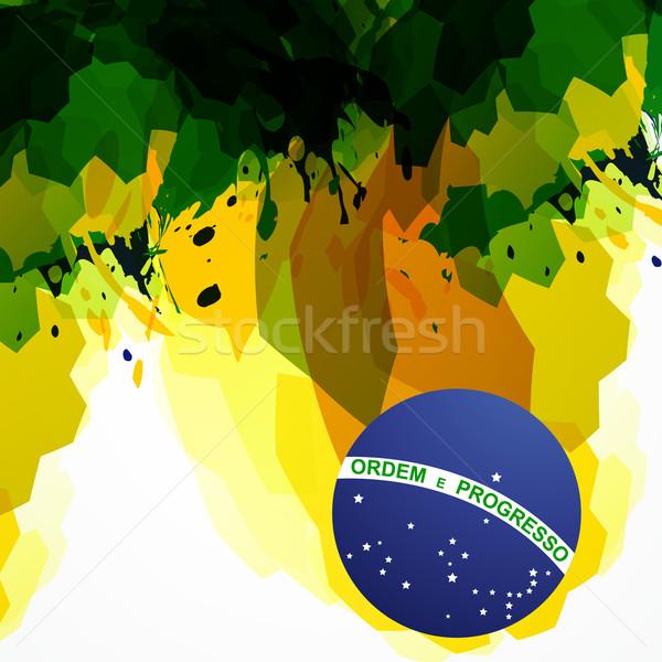 Brazylia streszczenie banderą projektu fali karty Zdjęcia stock © Pinnacleanimates