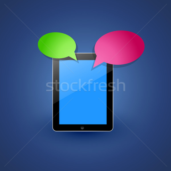Smart tablet vettore chattare bolla telefono tecnologia Foto d'archivio © Pinnacleanimates
