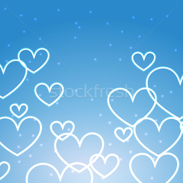 Stock photo: blue background with multiples hearts