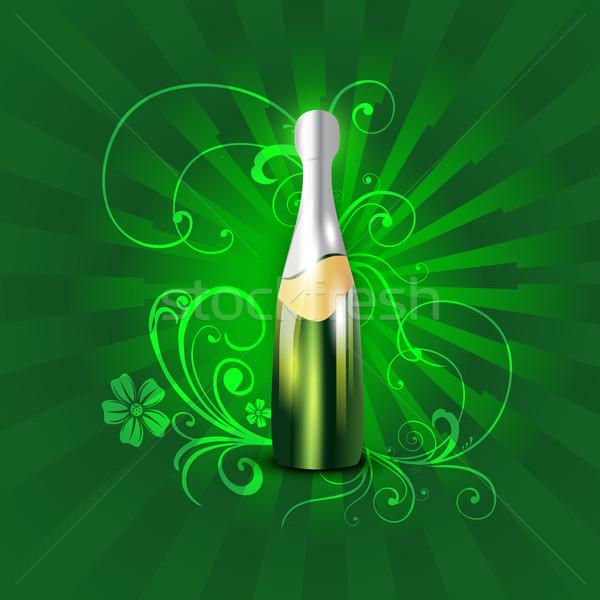 Sörösüveg vektor illusztráció művészet zöld ital Stock fotó © Pinnacleanimates