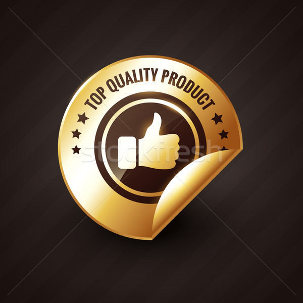 Stock photo: top quality product with thumbs up golden label design