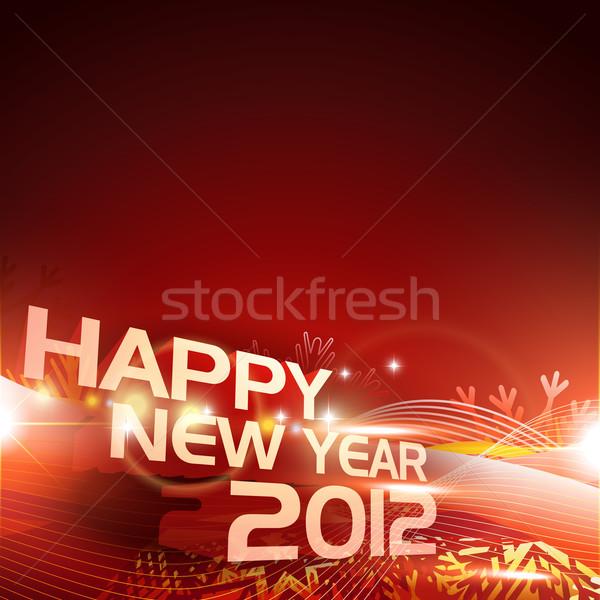 Stock fotó: Boldog · új · évet · elegáns · piros · izzó · boldog · fény