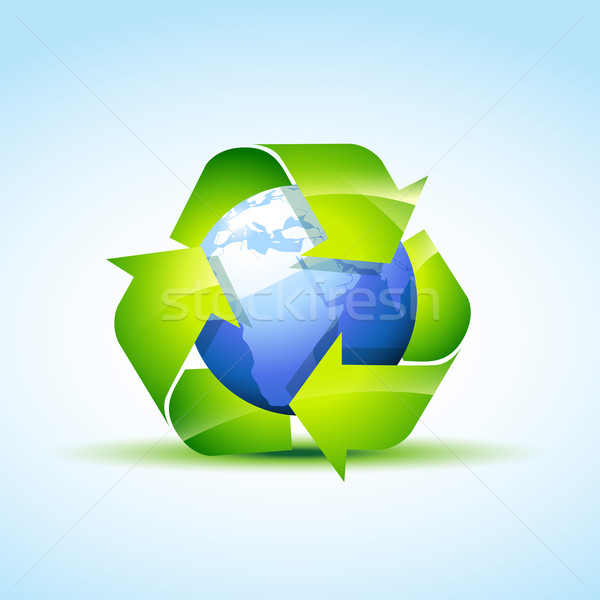 Groene recycleren icon vector abstract wereld Stockfoto © Pinnacleanimates