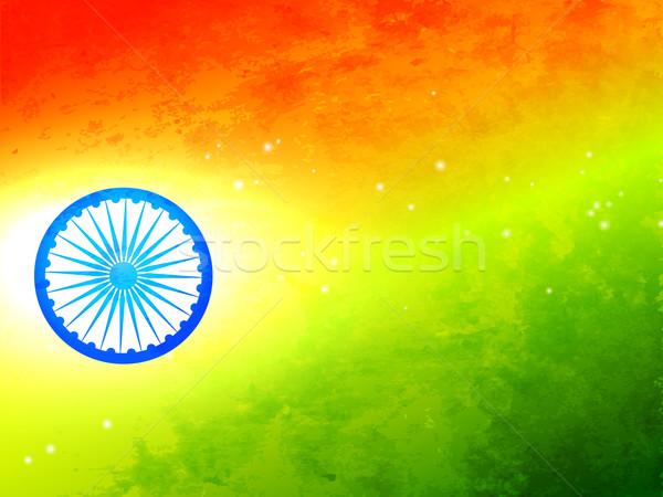 Banderą Indie tricolor tekstury koła wektora Zdjęcia stock © Pinnacleanimates