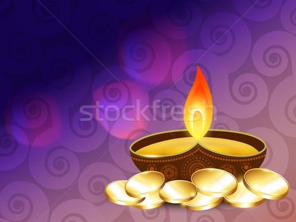 Diwali gouden munten vector gelukkig licht lamp Stockfoto © Pinnacleanimates
