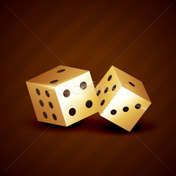 golden dice spinning vector design Stock photo © Pinnacleanimates