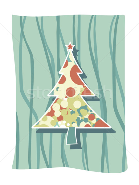 Funky karácsony művészet vektor fa hó Stock fotó © Pinnacleanimates