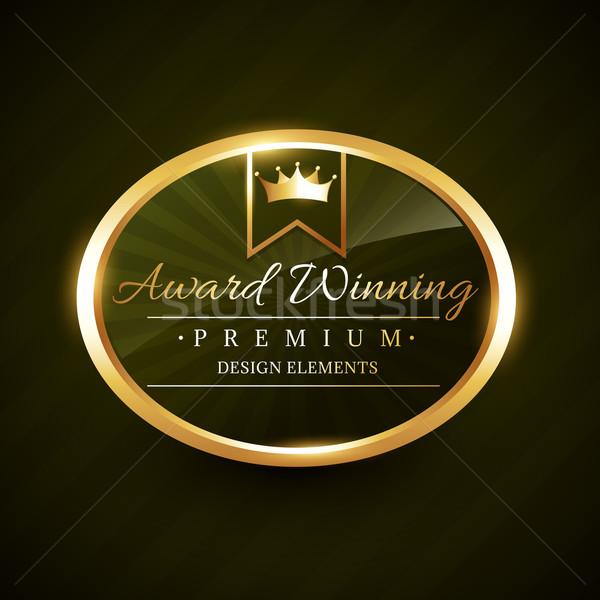 Gyönyörű díj nyertes arany címke kitűző Stock fotó © Pinnacleanimates