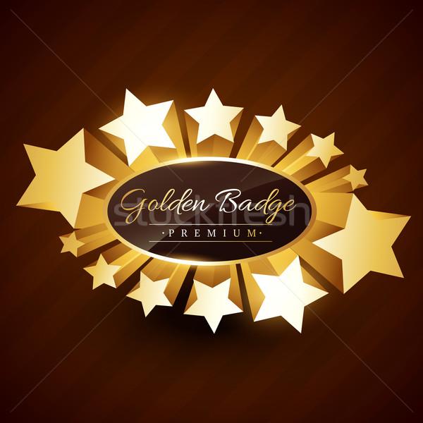 Stock photo: premium golden badge design with stars