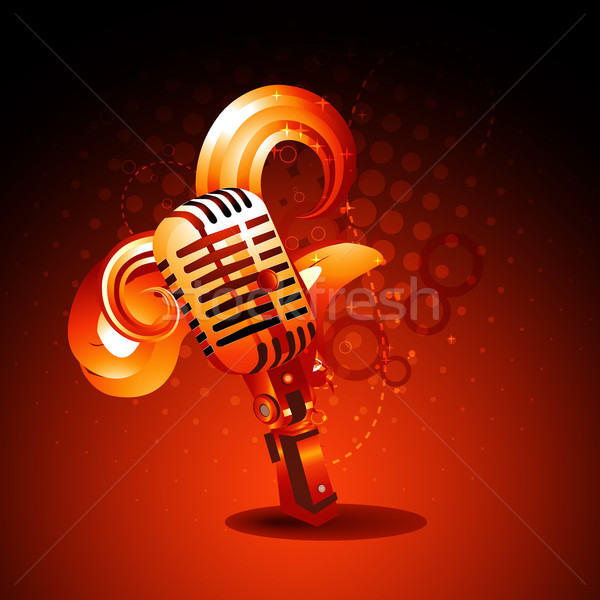 vector golden color mic art Stock photo © Pinnacleanimates