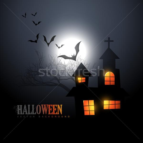 Halloween wektora scary domu nawiedzony stylu Zdjęcia stock © Pinnacleanimates