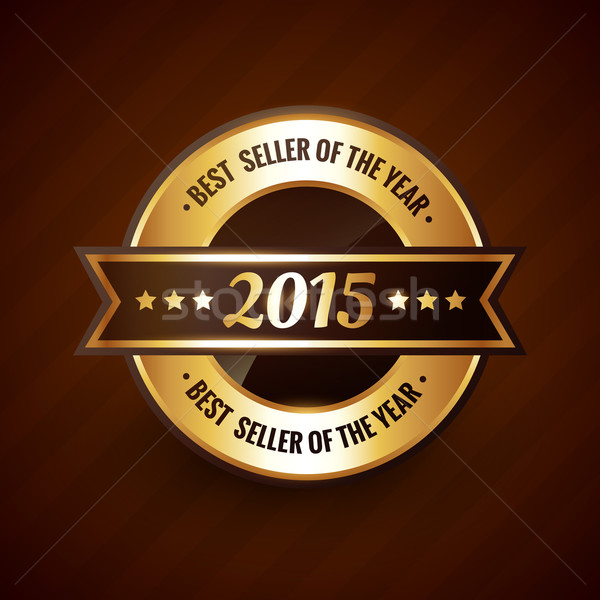 Stock photo: best seller of the year 2015 golden label design