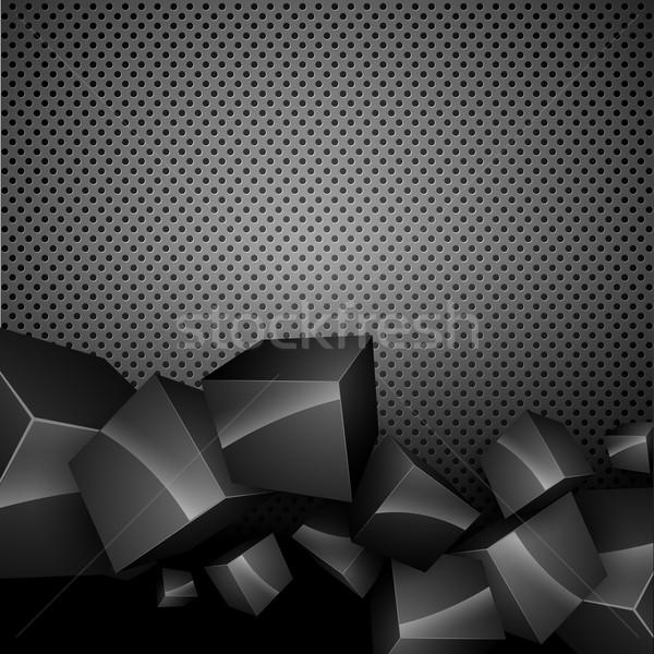 Sötét vektor elegáns 3D dobozok absztrakt Stock fotó © Pinnacleanimates