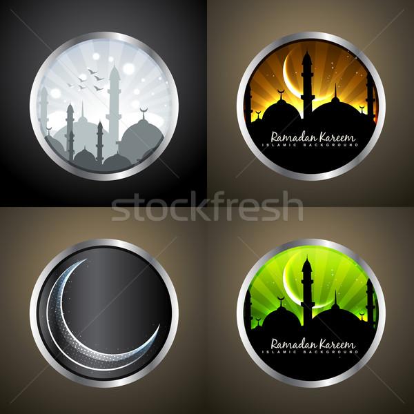 Vektor szett ramadán vonzó fesztivál muszlim Stock fotó © Pinnacleanimates