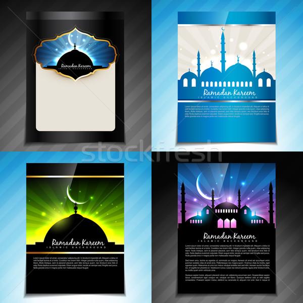 Vector ingesteld ramadan festival brochure ontwerp Stockfoto © Pinnacleanimates