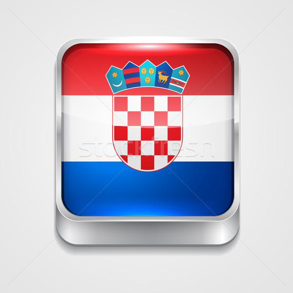 Vlag Kroatië vector 3D stijl icon Stockfoto © Pinnacleanimates