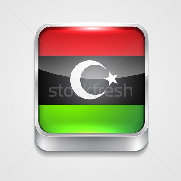Banderą Libia wektora 3D stylu ikona Zdjęcia stock © Pinnacleanimates