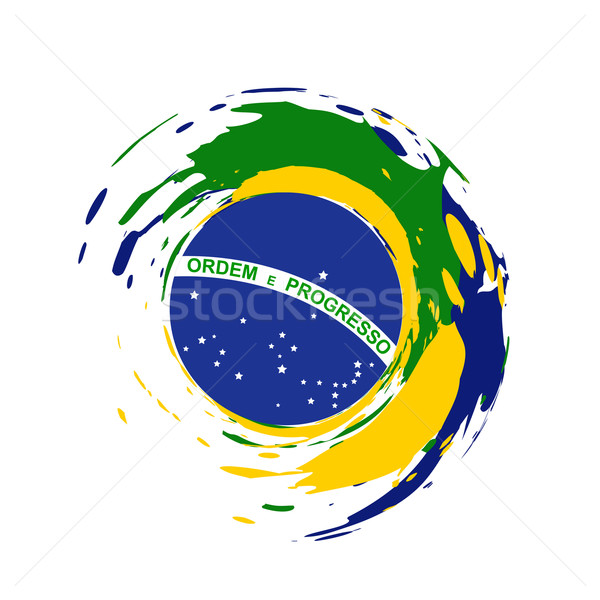 Бразилия флаг дизайна вектора Гранж стиль Сток-фото © Pinnacleanimates