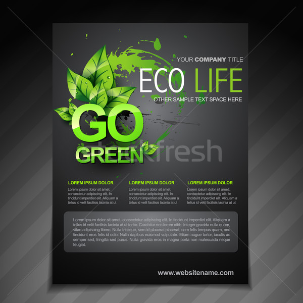 eco flyer brochure poster template and magazine cover Stock photo © Pinnacleanimates