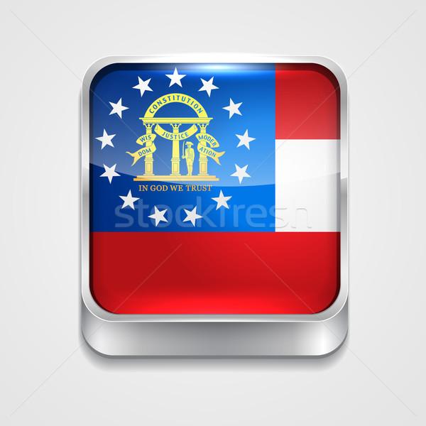 Zászló Grúzia vektor 3D stílus ikon Stock fotó © Pinnacleanimates