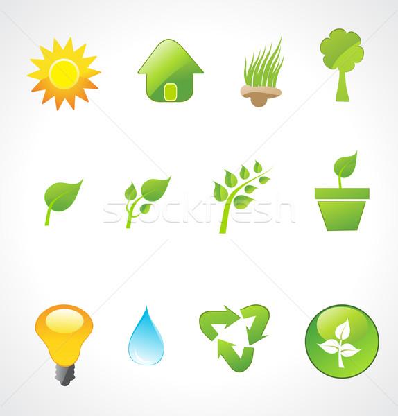 Stock fotó: Szett · ökológia · ikonok · vektor · fű · természet