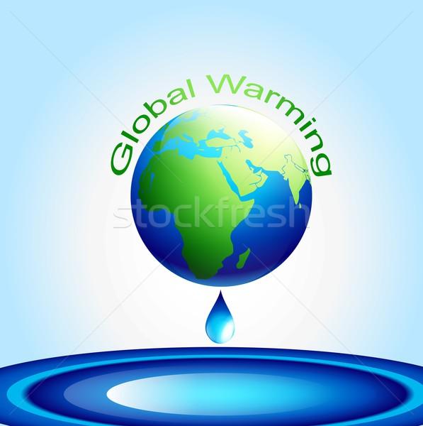 Globális felmelegedés vektor Föld illusztráció térkép absztrakt Stock fotó © Pinnacleanimates