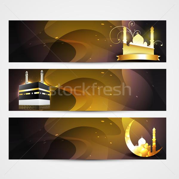 Elegáns szett ramadán bannerek absztrakt terv Stock fotó © Pinnacleanimates