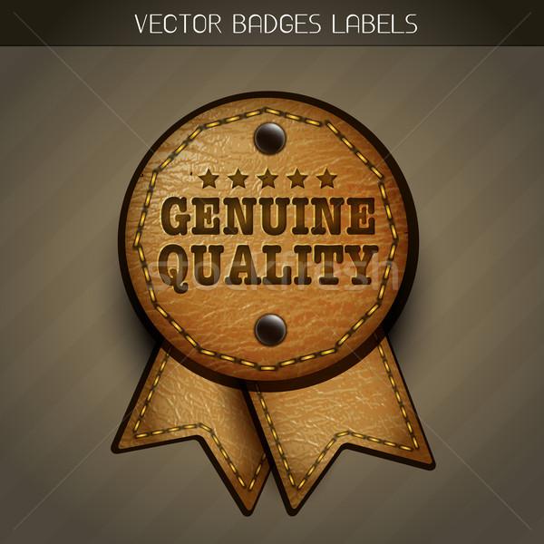 вектора подлинный кожа Label иллюстрация ткань Сток-фото © Pinnacleanimates