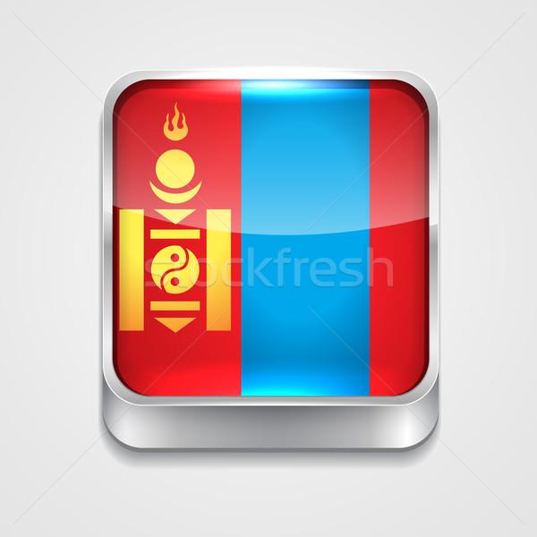 Zászló Mongólia vektor 3D stílus ikon Stock fotó © Pinnacleanimates