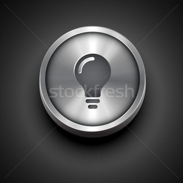 metalic bulb icon Stock photo © Pinnacleanimates